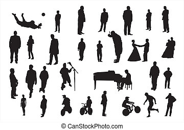 people - Vector silhouettes of different people under the...