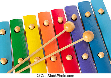 Xylophone with two mallets Isolated on white background