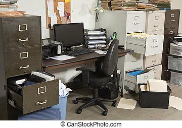 mycket, rörig, kontor