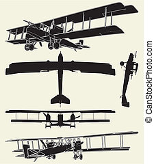 Antique Military Propeller Biplanes Vector