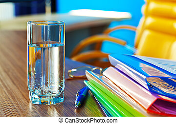 Glass of water in office