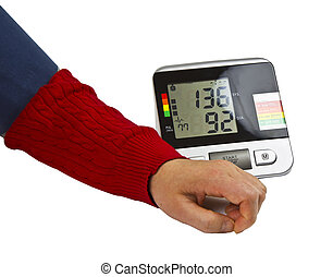 High Blood Pressure - Blood pressure device in actual use...