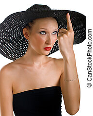 Ridiculous women in black hat Isolation on white background