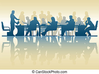 Business meeting - Editable vector silhouette of people in a...