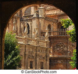 Details and spires of The Cathedral in Seville, Spain
