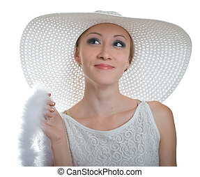 smiling women in white hat