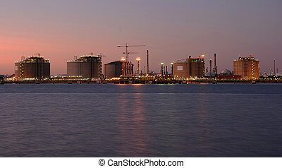 Chemical and petrochemical industry by night in Spain