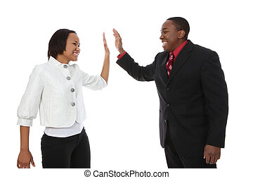 Business Man and Woman Success - Attractive african american...