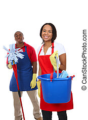 Attractive Cleaning Man and Woman - An attractive man and...