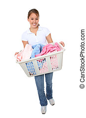 Pretty Woman Doing Laundry - A pretty young woman doing...