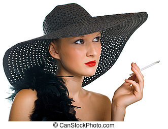 women in black hat and boa with a cigarette - Beautiful...