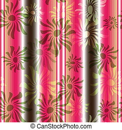 Pink-green floral seamless striped pattern