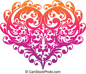 decorative ornamental heart, vector - colorful heart with...