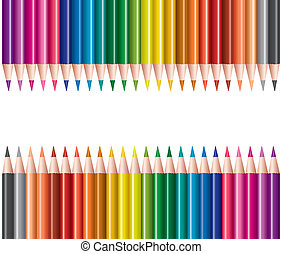 colored pencils in rows - vector sets of colored pencils in...