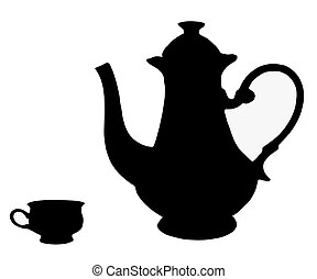The Teapot and cup. - On white background, is drawn teapot...