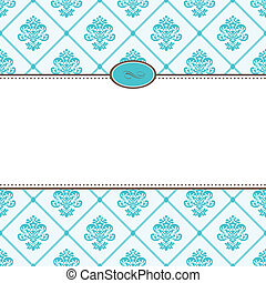 Vector Retro Blue Pattern and Frame