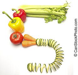 Mixed vegetables spelling out the words, 5 a day
