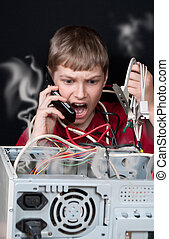 Repair your computer. A young man calls to technical support.