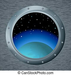 Window with space - Spaceship window porthole with space,...