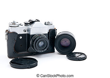 Retro-styled camera and lens isolated on white