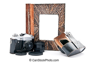 Photo album and camera - Vintage camera and photo album with...