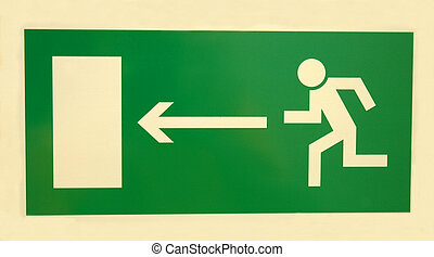 emergency sign - emergency exit sign on white background