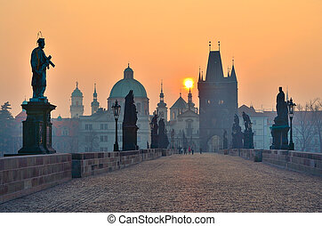sunrise over Prague - look from charles bridge, early...