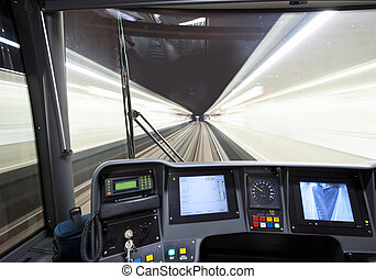 Subway cockpit - The cockpit of a modern subway, as it...