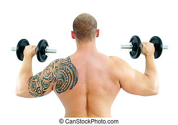 Young man lifting weight - young caucasian man with muscles...