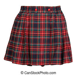 Plaid red feminine skirt on white background