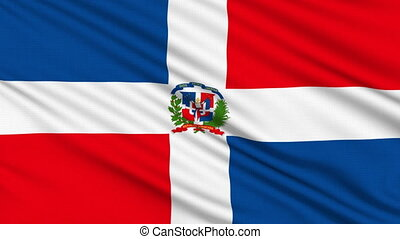 Dominican Republic Flag, with real structure of a fabric