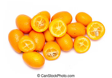 Kumquats - some fresh kumquats over a white background