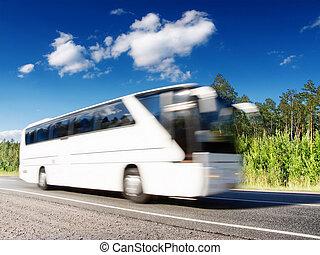 white bus speeding