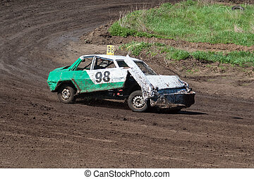 Race for survival Broken car on the track