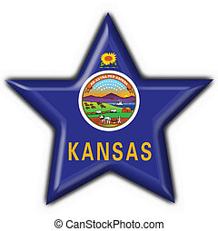 Kansas (USA State) button flag star shape - 3d made