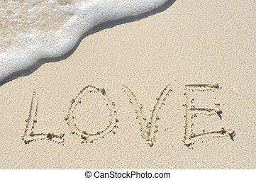 Love Written in Sand on Beach