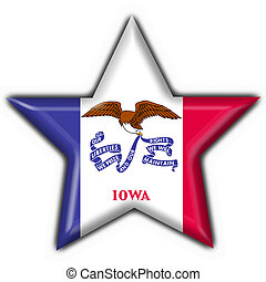 Iowa (USA State) button flag star shape - 3d made
