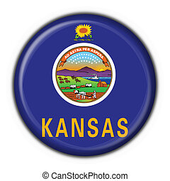 Kansas USA State button flag round shape - 3d made