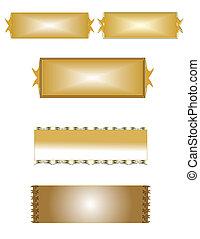 brass name plates on white