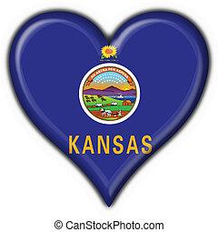 Kansas (USA State) button flag heart shape - 3d made
