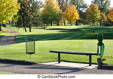 Golf Tee Box and Bench in Autumn