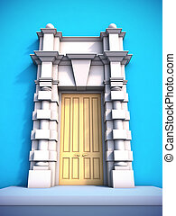 Classical portal. - A 3D illustration of classical portal.