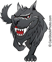Danger wolf - Wild danger grey wolf in cartoon style...