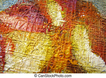 Close-up of oil painting canvas - Close-up photograph of oil...