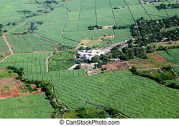Sugar cane factory - Aerial view of sugar cane factory in...