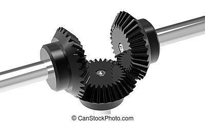 Bevel gears - Mechanism concept 3d render of a gears
