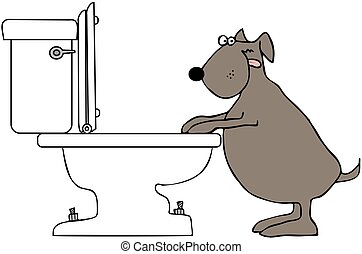 Dog Drinking From Toilet - This illustration depicts a dog...