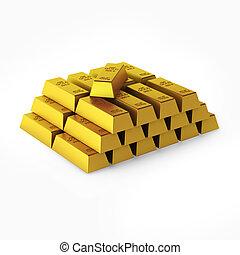 3d render of gold bars