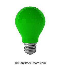 3d render of green lightbulb