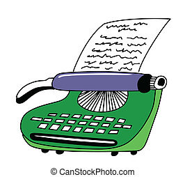 vector drawing of the printed type-writer on white...